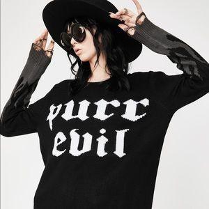 Killstar purr evil distressed sweater